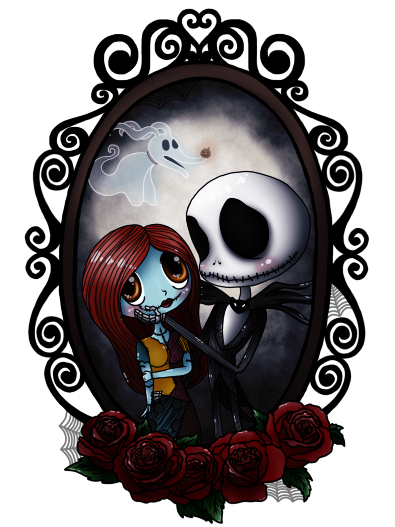 Chibis drawing nightmare before christmas. Jack and sally by