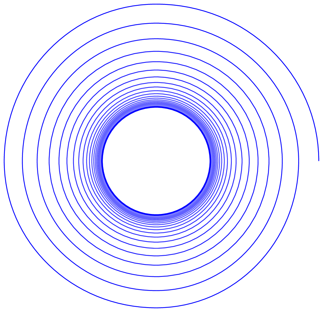 Loop drawing spiral. Tikz pgf how can