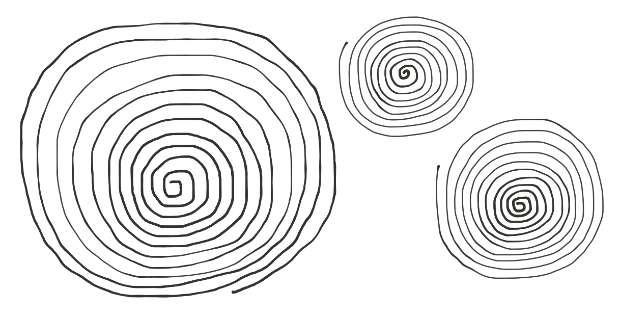 Drawing spiral drawn. A safe space to