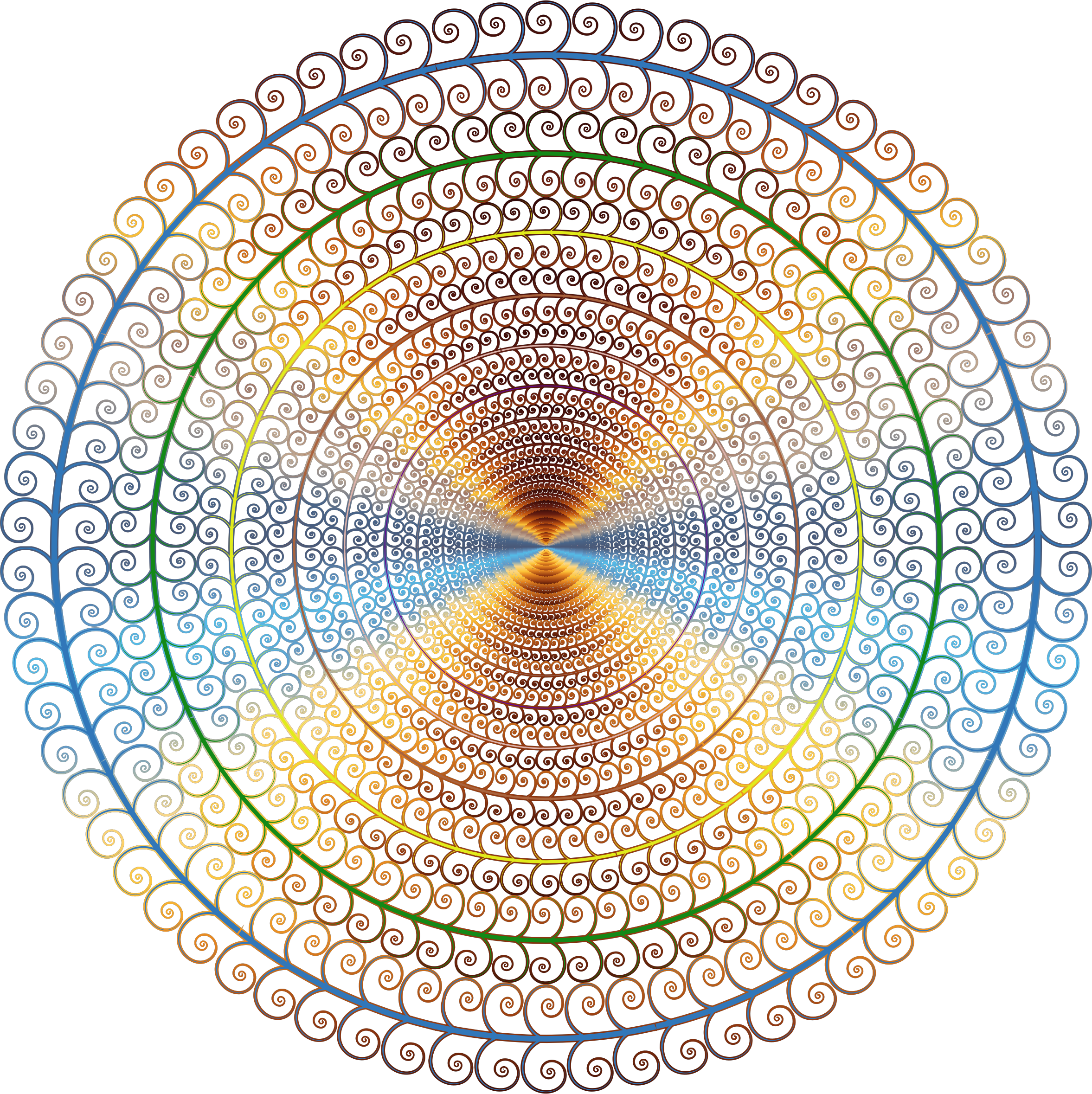 Drawing spirals circle. Clipart prismatic spiral tree