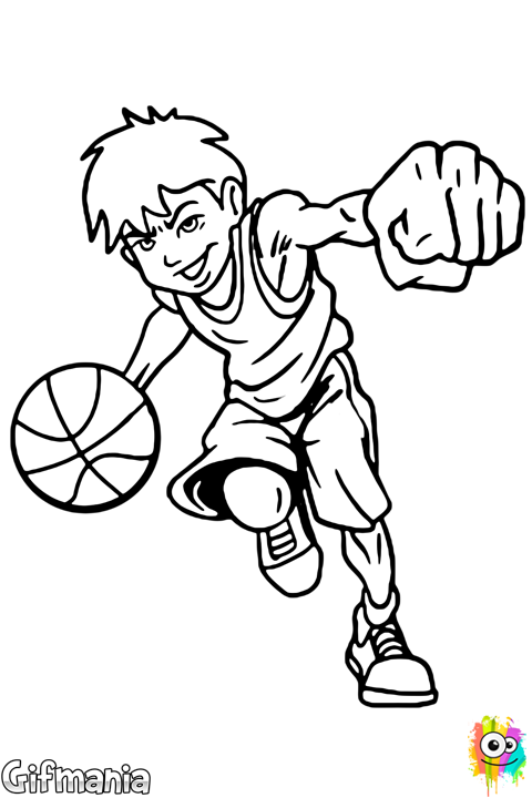 Playing basketball sport coloringpage. Drawing sports black and white stock