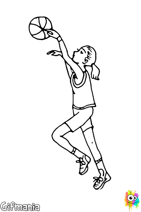 Drawing messi shooting. Female basketball player girl