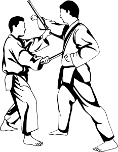 Drawing sport martial art. Weaponry kobudo east west