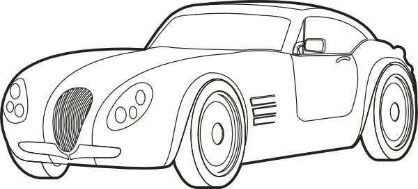 Vector sketches car. Outline sportscar clip art