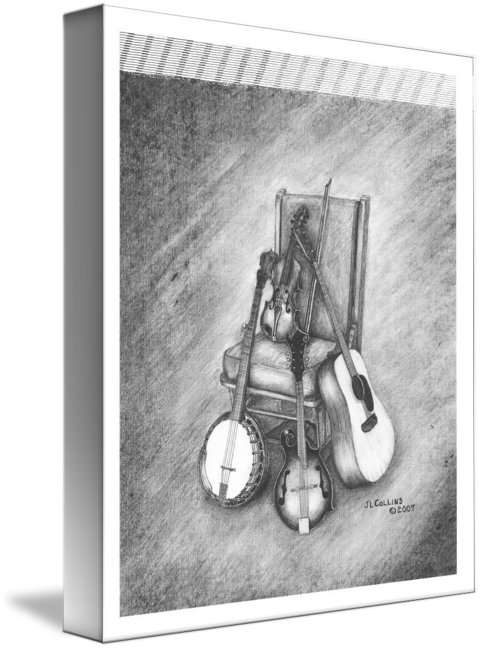 Fiddle drawing still life. Musical by jimmy collins