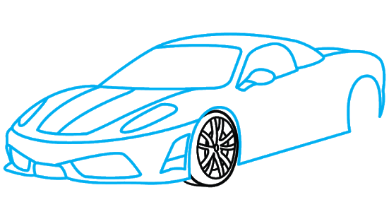 Drawing sports car. A step by tutorials
