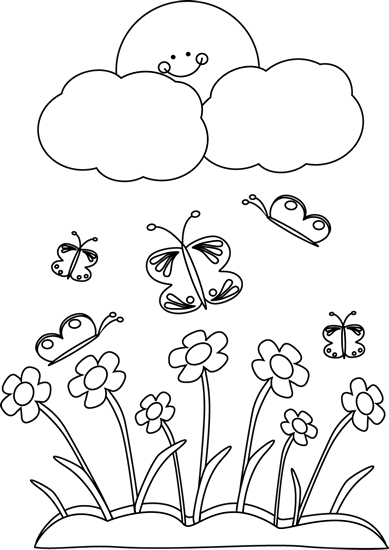 Drawing spring black and white. Clip art sun image