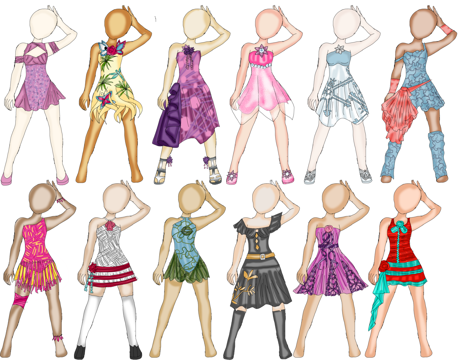Outfits drawing spring. Heavily influenced outfit designs