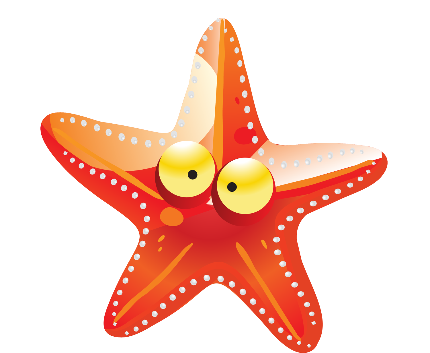 Drawing starfish. Cartoon orange transprent png