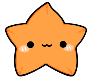 Drawing starfish chibi. Collection of cute