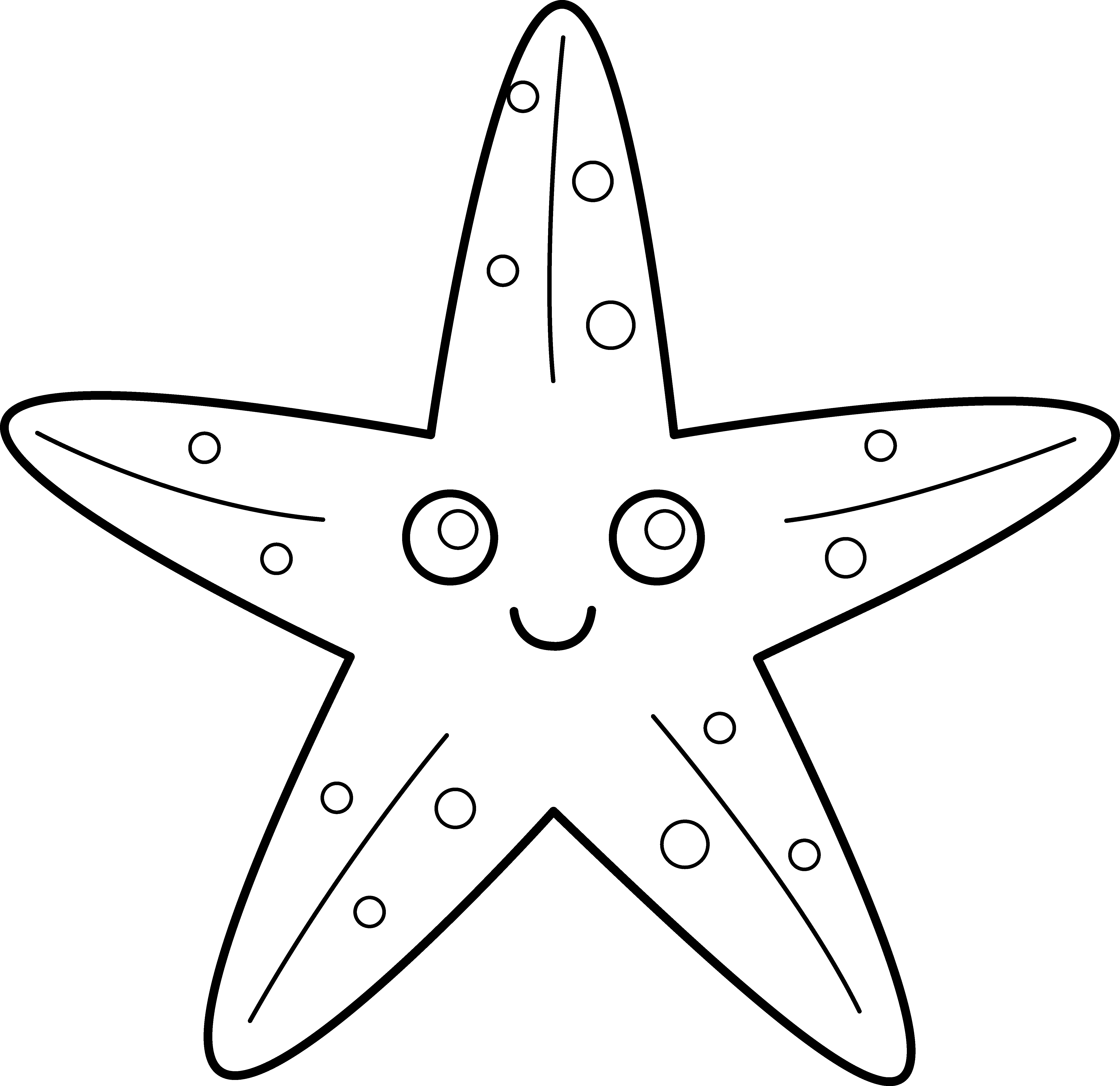 Drawing starfish star fish. Free outline download clip