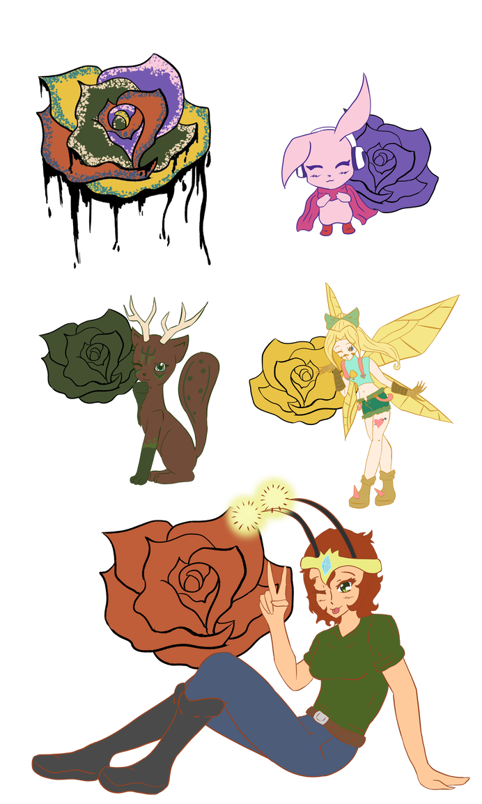 Digimon link team rose. Drawing starfish ink graphic transparent library