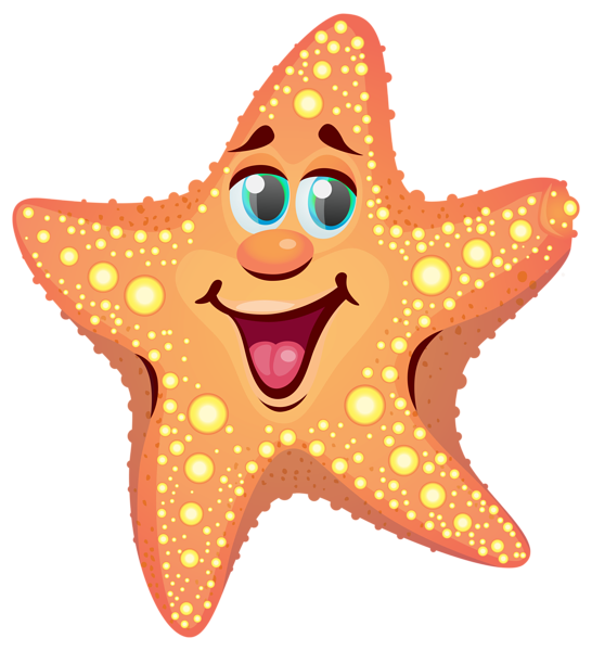 Drawing starfish underwater. Cartoon png clipart image