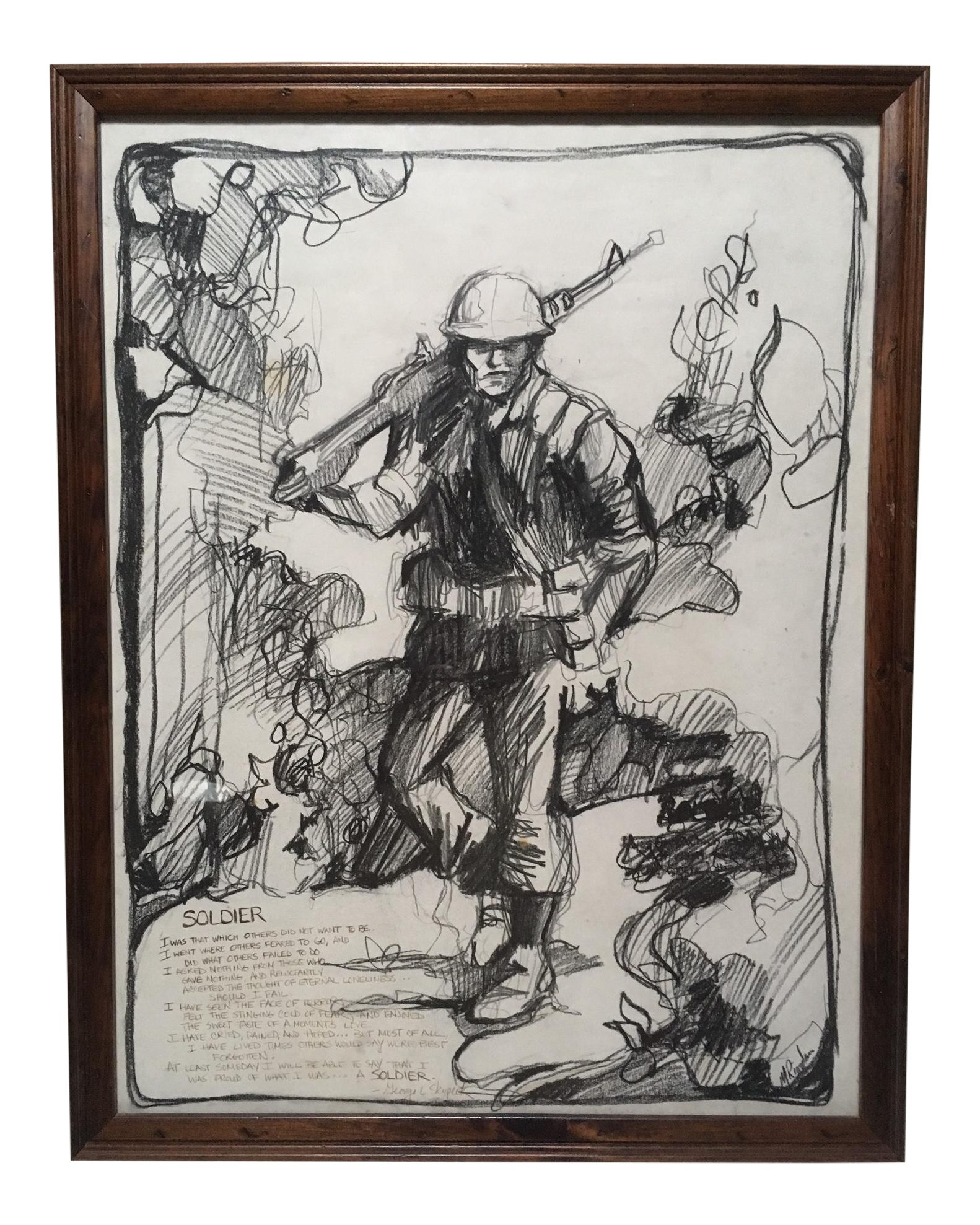 Drawing statue charcoal. A soldier s poem