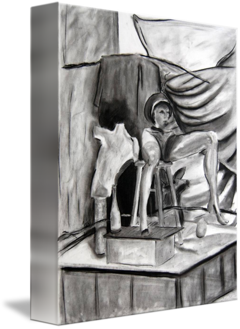 Drawing statue charcoal. Art final vine by