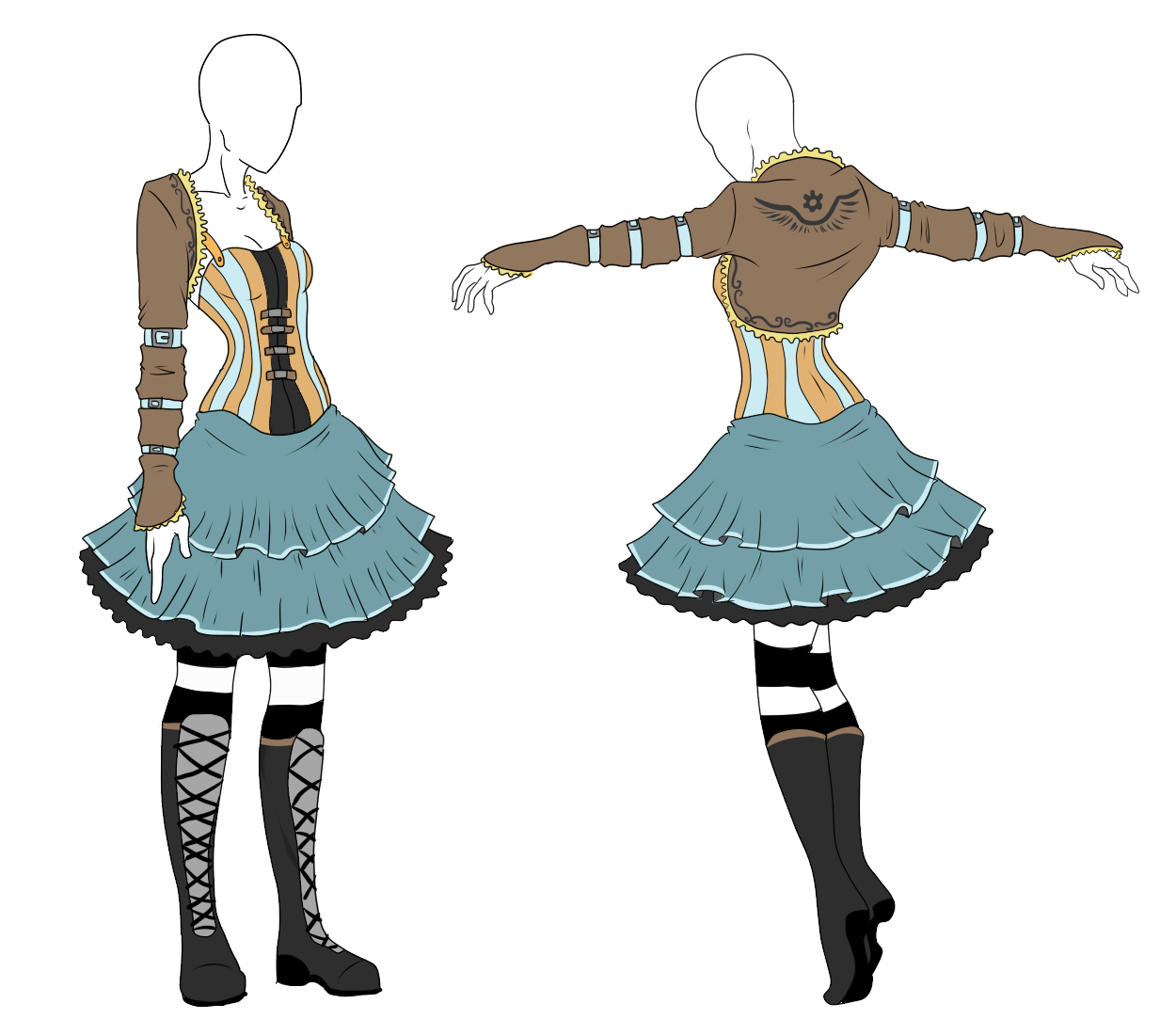 Drawing steampunk anime. Outfit adopt alice sold