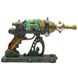 Drawing steampunk weapon. Home decor and gifts