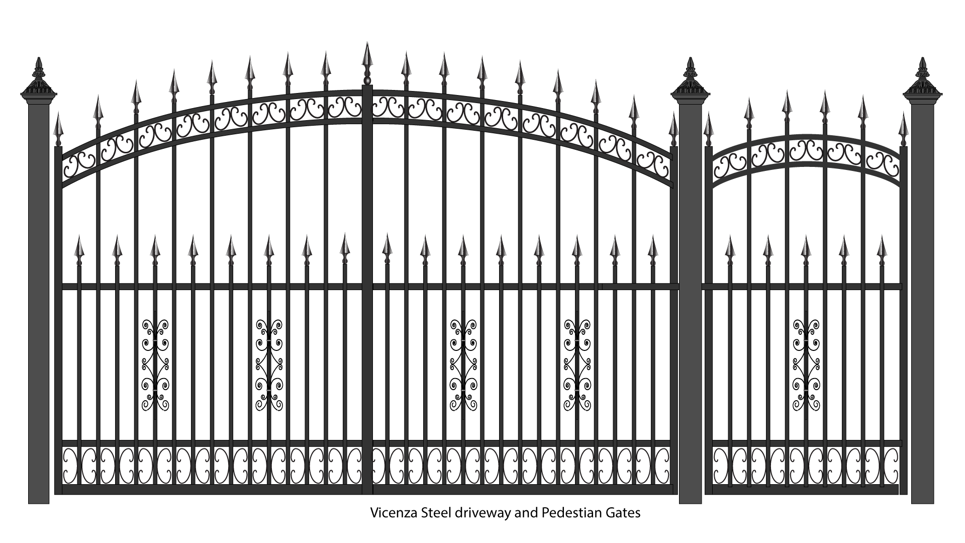 Drawing steel gates. Vicenza wrought iron balcones