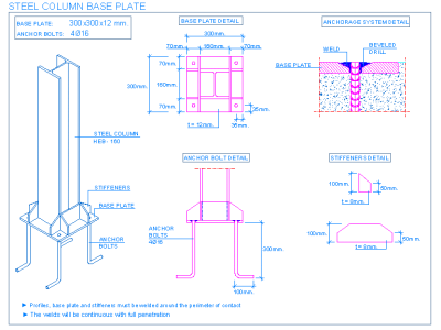Drawing steel structural engineer. Column base plate constructions