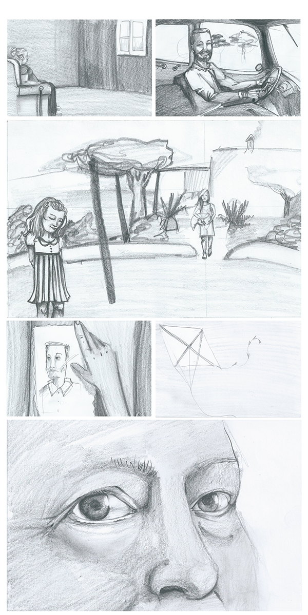 Drawing storyboards detailed. The rope storyboard on