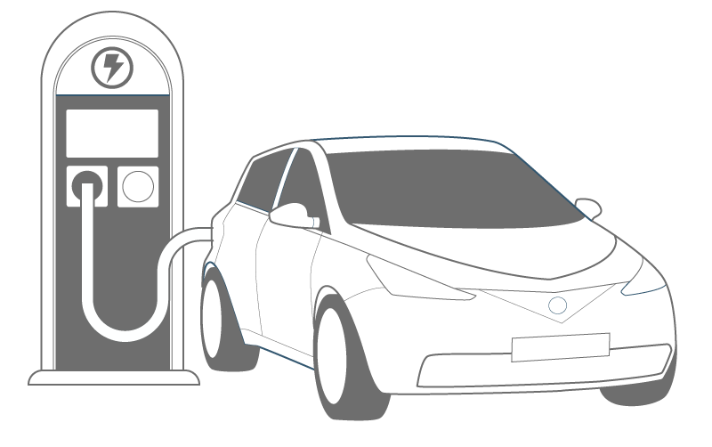 Vector sketches car. Illustration of an electric