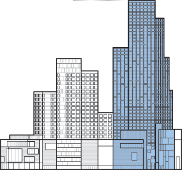 Point drawing city. Tower ii the skyscraper