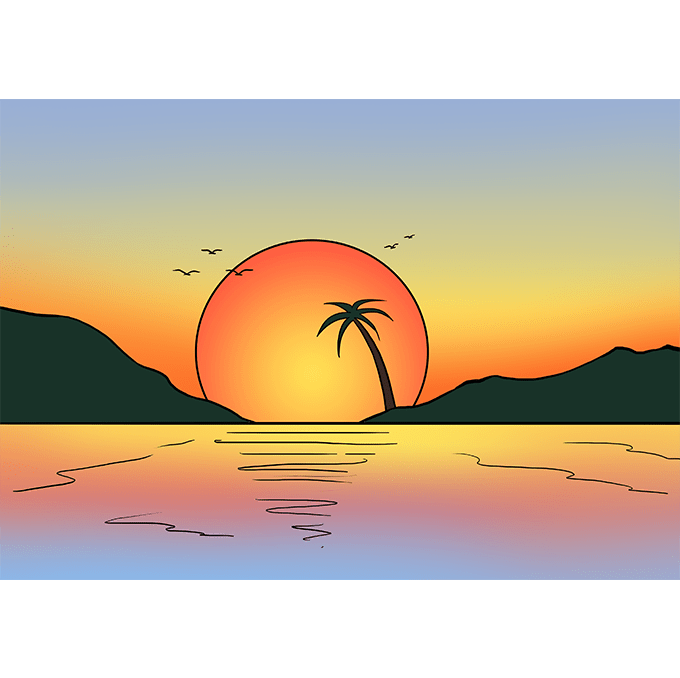 Pastels drawing sunrise. How to draw a