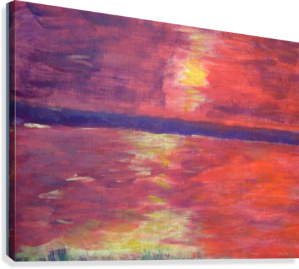 Drawing sunset abstract. Red darryl green canvas