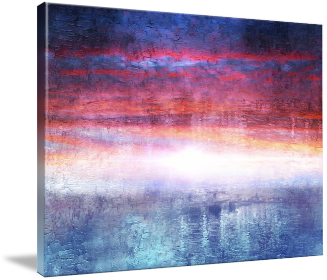 Drawing sunset abstract. Seascape digital painting a
