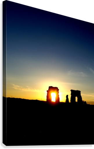 Drawing sunset evening. Landscape photography italian ruins