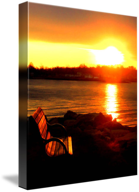Drawing sunset evening. Branford point by wayne