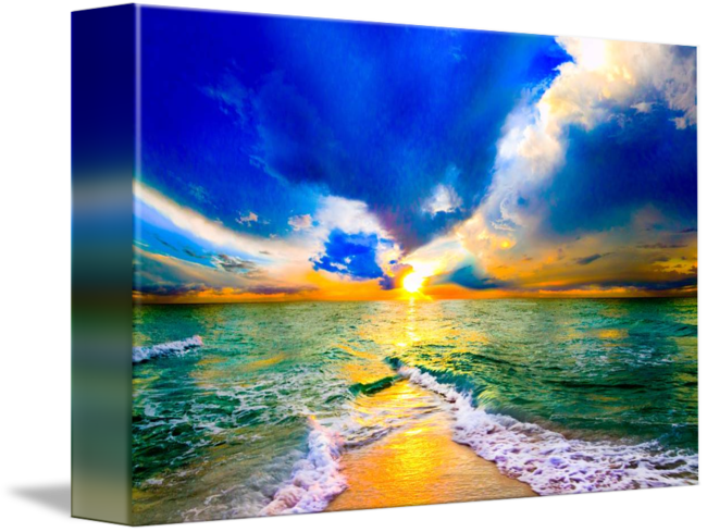 Drawing sunset ocean. Colorful over beautiful beach