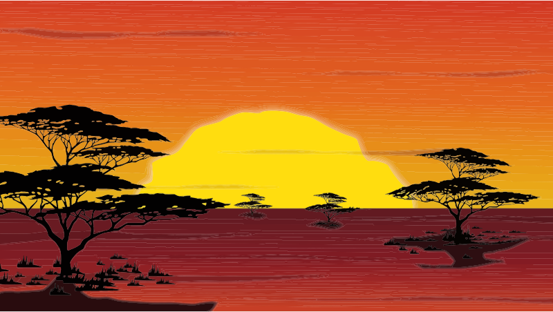 Drawing sunset outline. Africa image freeuse