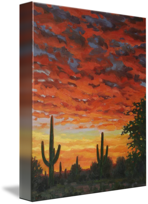 Drawing sunset realistic. Plein air impressionist painting