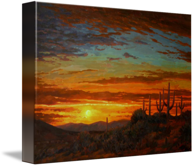 Drawing sunset realistic. Desert painting senoran by