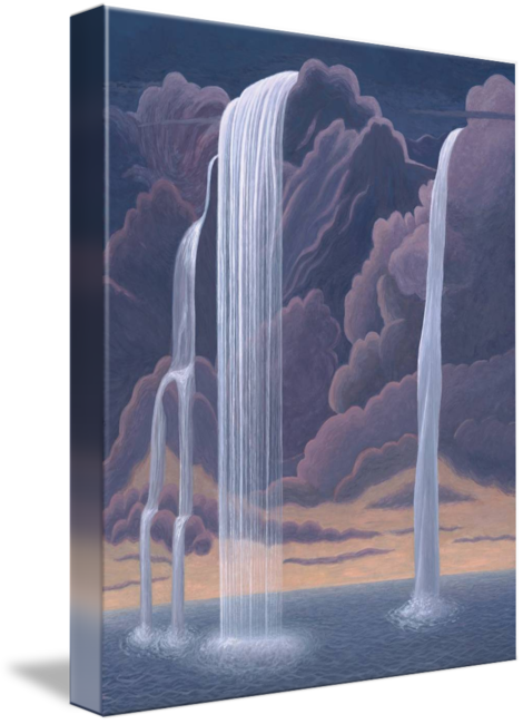 Drawing sunset waterfall. From a cloud by