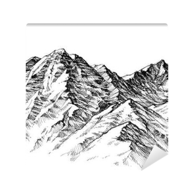 Drawing wall sketch. Mountains ranges hand mural
