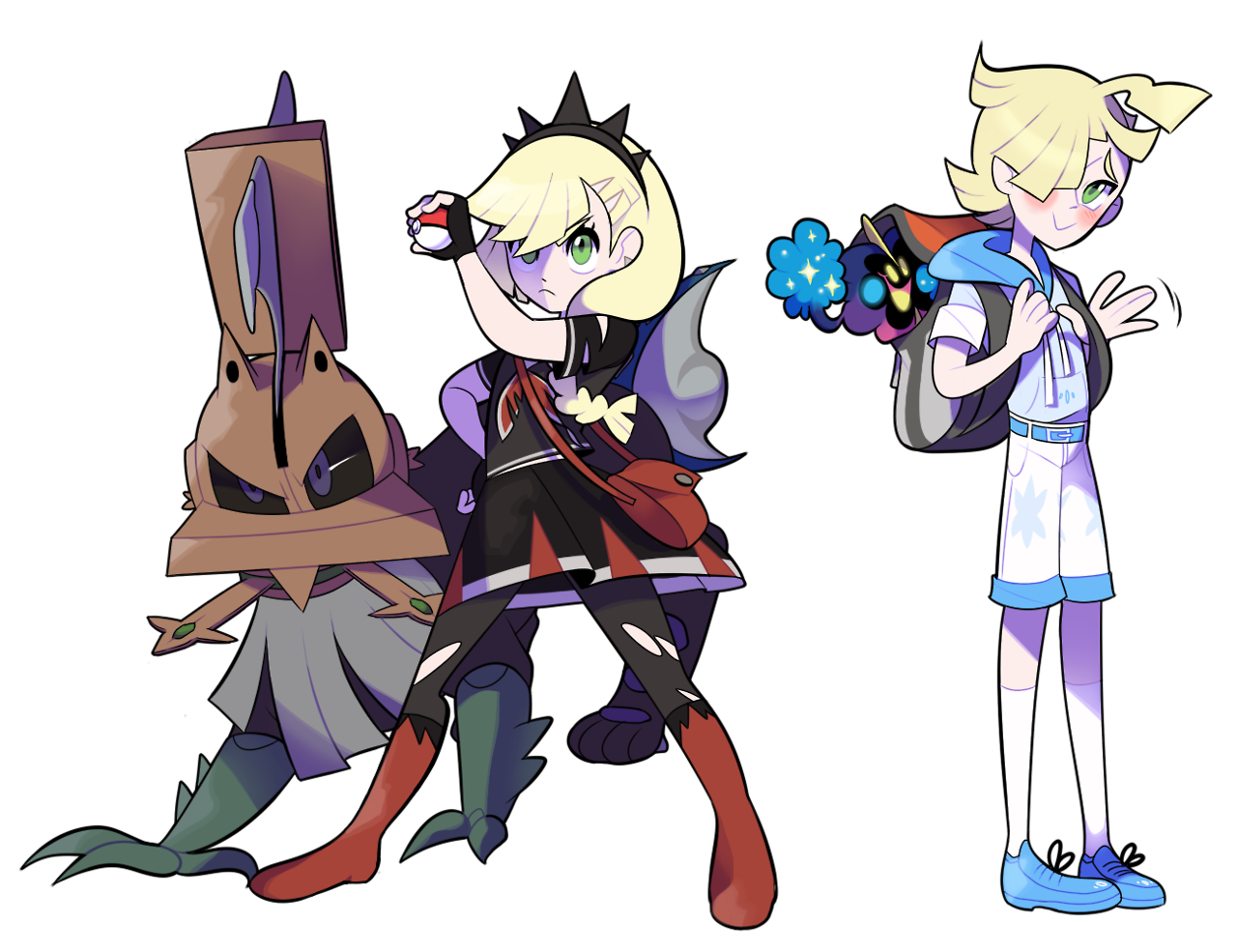 Drawing swap clothes. Lillie and gladion cloth