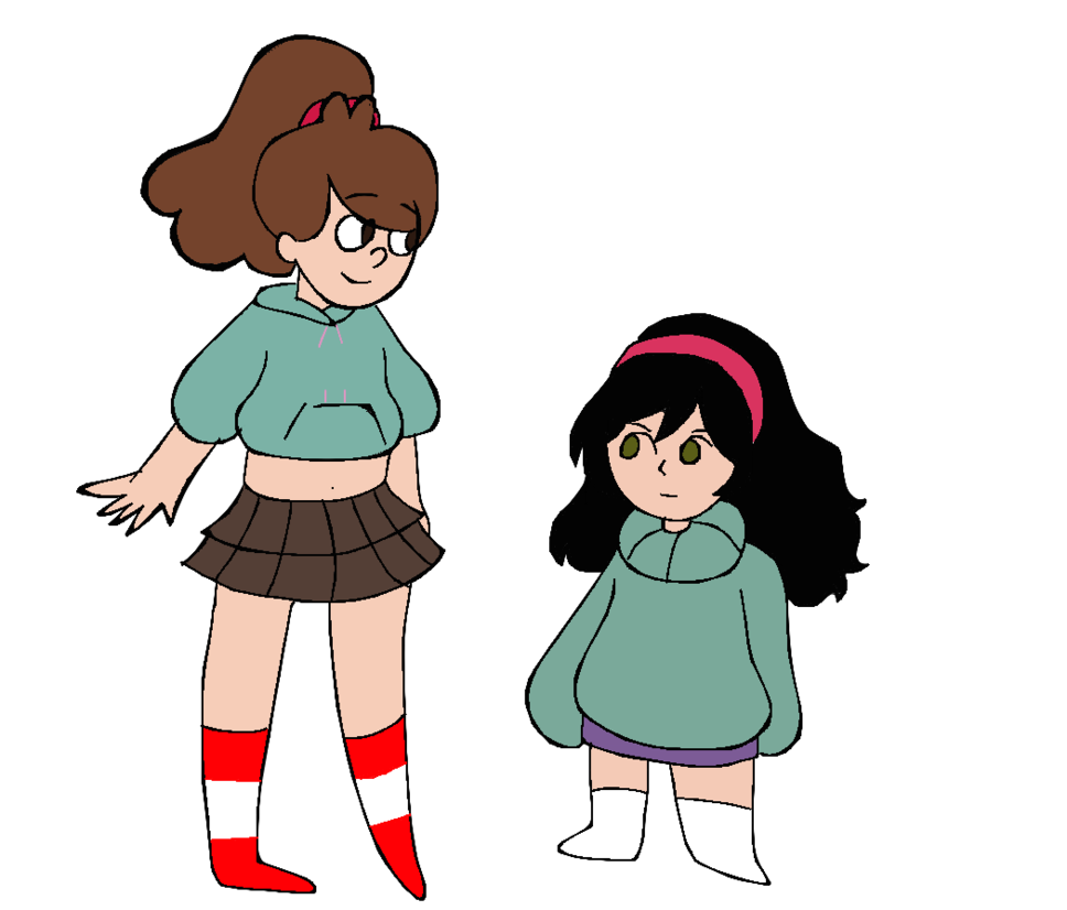 Drawing swap clothes. Mabel and vanellope by