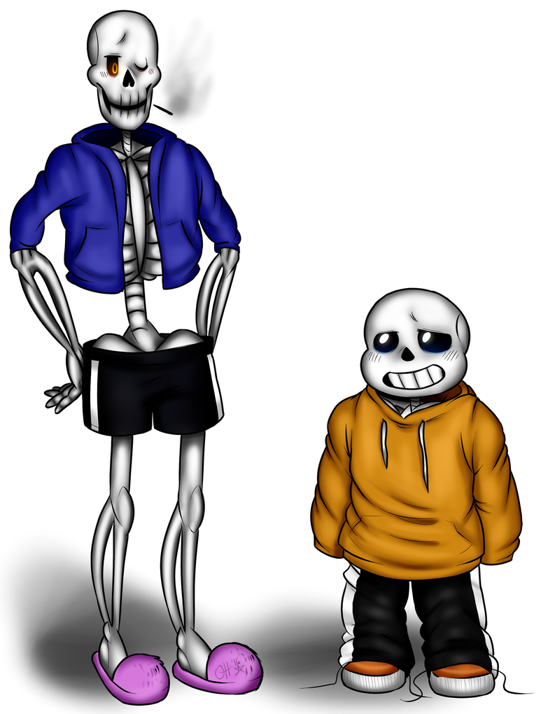 Drawing swap clothes. Sans and stretch by