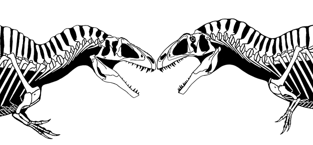 Skeletons drawing dinosaurs. The evolution of my