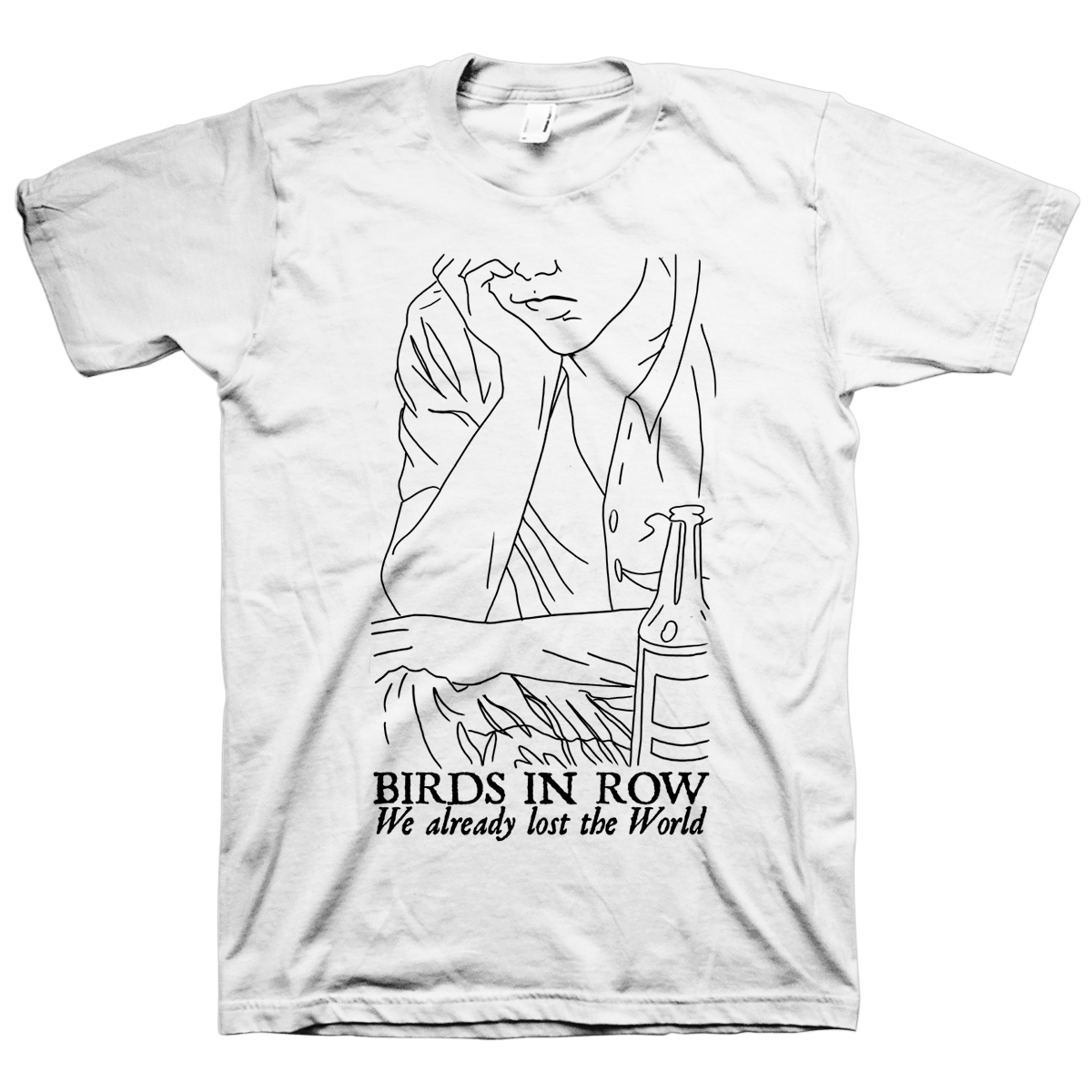 White drawing t shirt. Birds in row deathwish