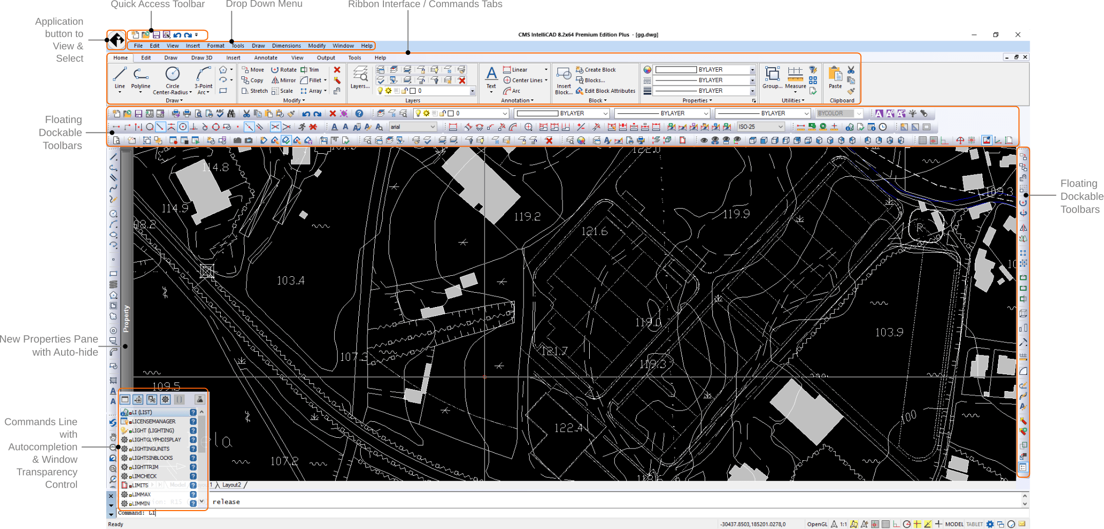 Support drawing black ribbon. Cms intellicad compatible cad