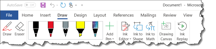 Drawing tab line. The ribbons of microsoft