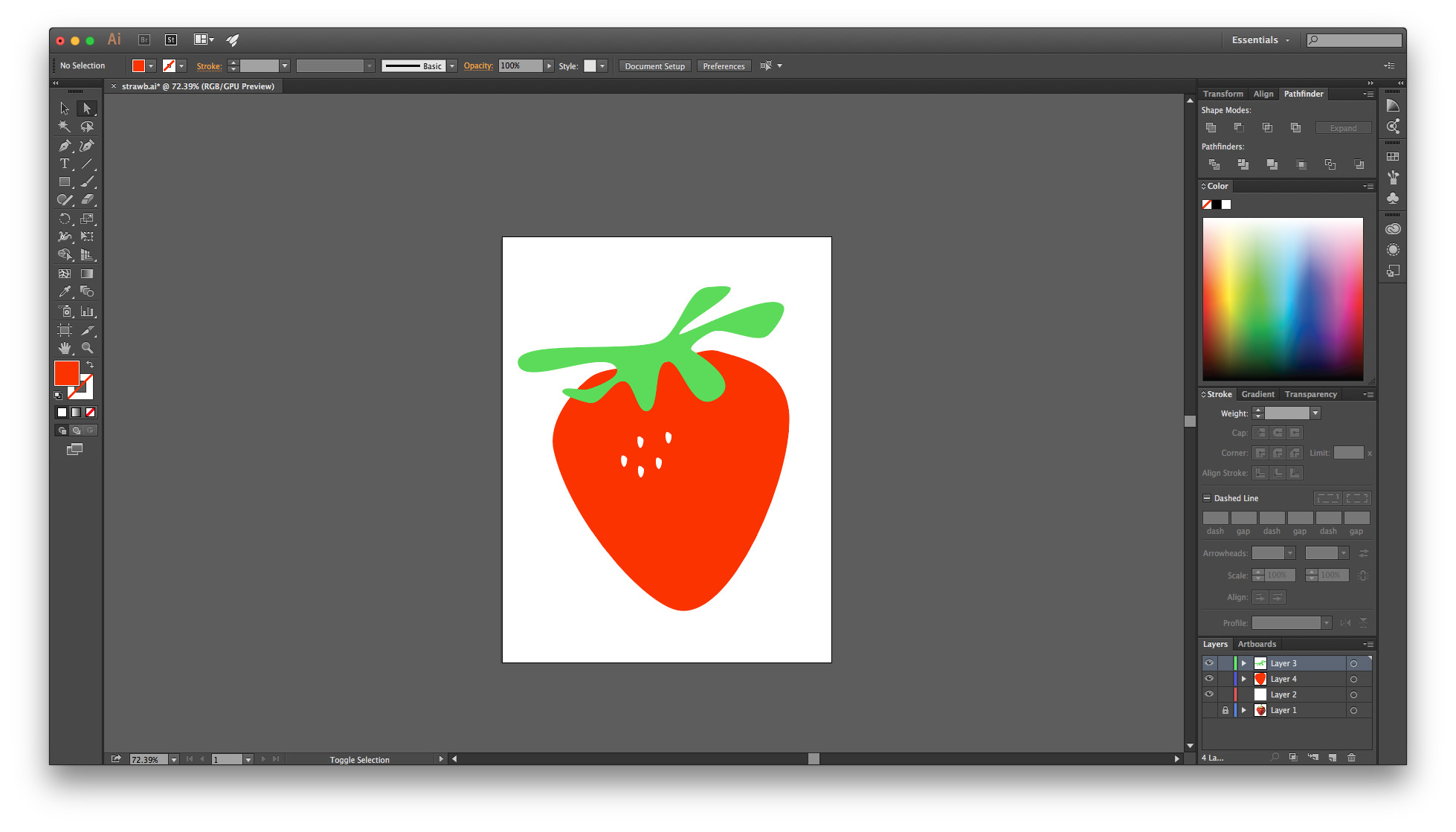 Drawing technology color. In illustrator for beginners