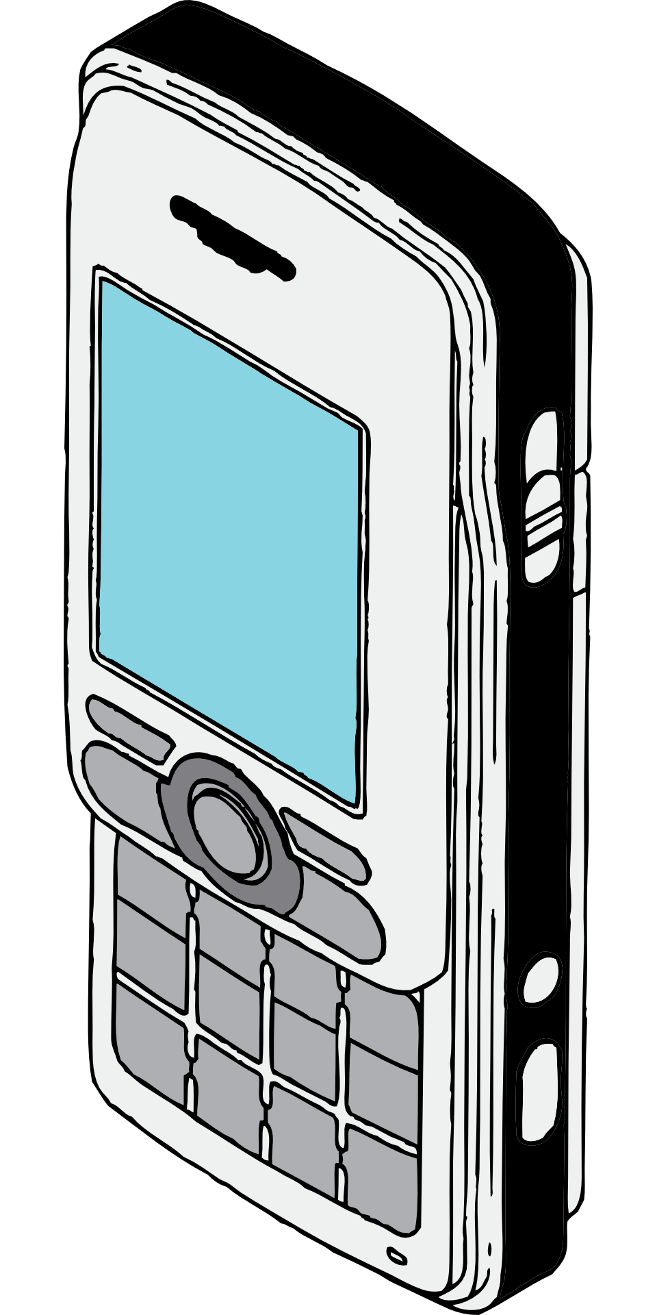 Drawing technology communication. Cellphone retro mobile phone