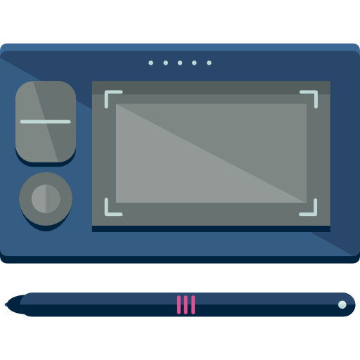 Electronics drawing pencil. Tablet draw technology icon