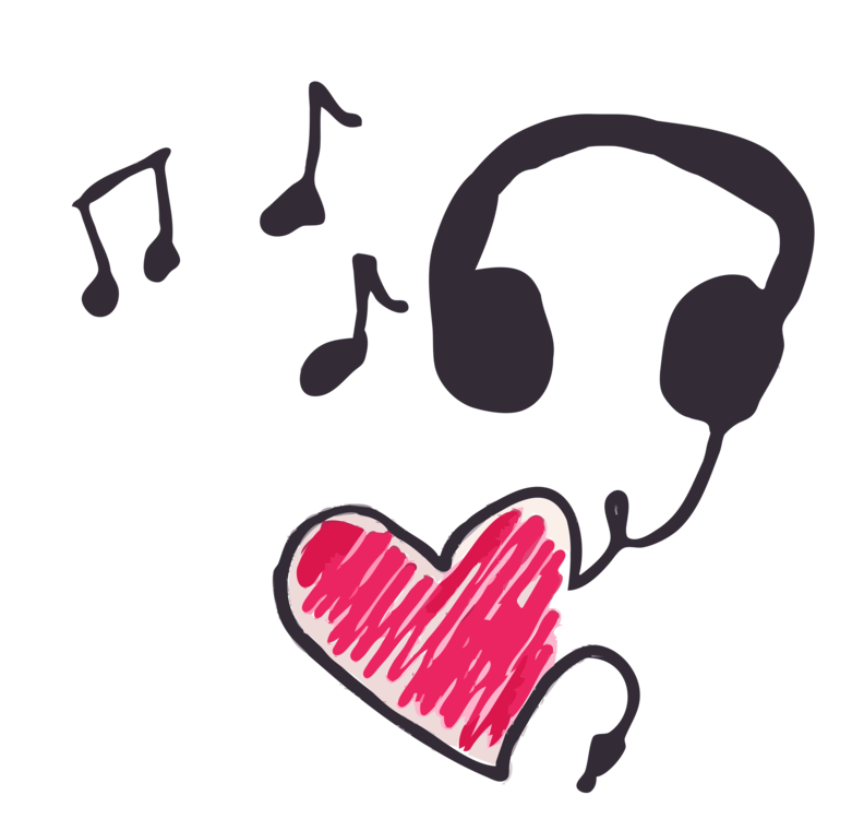Drawing headphones art. Musical note theatre music