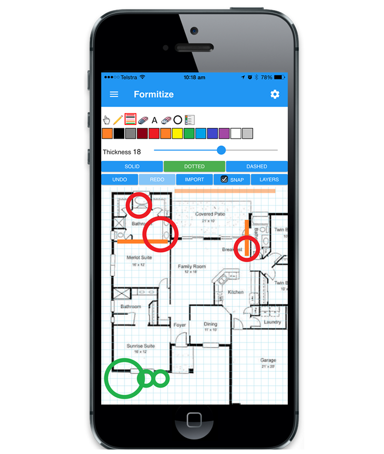 Mobile drawing technology. Advanced tradie app