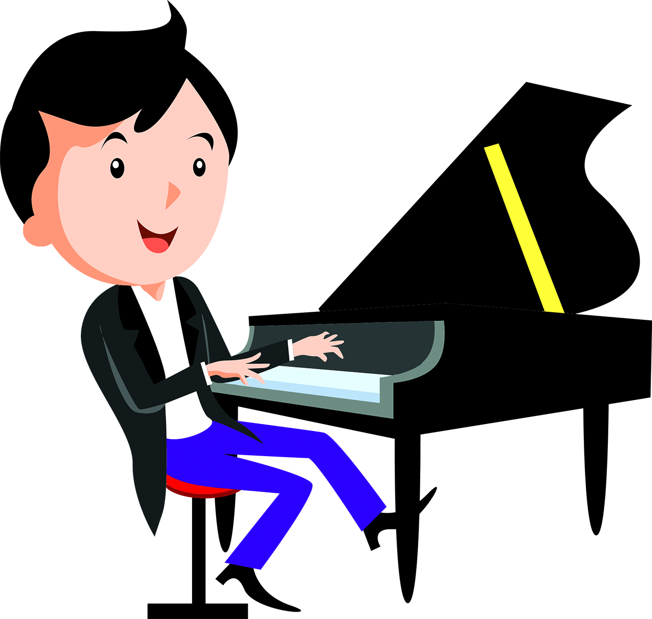 Drawing technology person. Cartoon network piano play